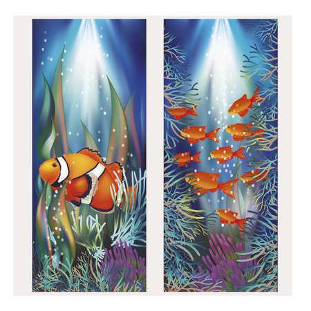 ecosistema: pancartas bajo el agua con peces payaso, ilustración vectorial