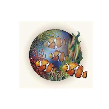 fondo de pantalla bajo el agua con peces tropicales, ilustración