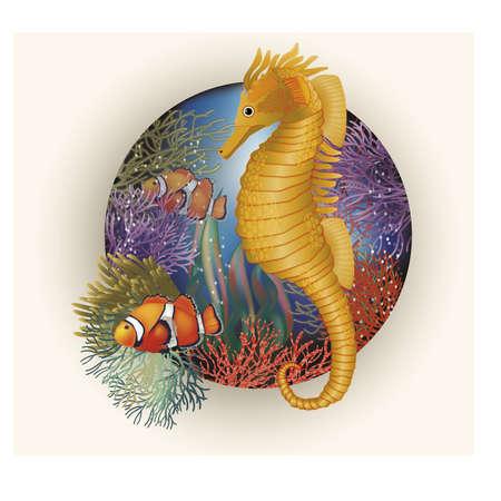 ecosistema: bajo el agua con tarjeta de caballito de mar, vector