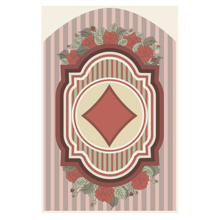 fortune flower: Vintage poker diamonds card, illustration