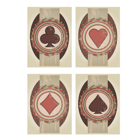 fortune flower: Set casino poker cards in vintage style, illustration