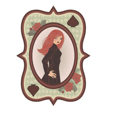 sexual: Vintage Poker Spades card with sexual girl, illustration Illustration