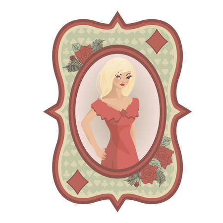 Vintage Poker Diamonds card with girl, illustration