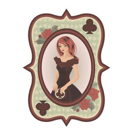 Vintage Poker Clubs kaart met seksuele meisje, illustratie Stock Illustratie