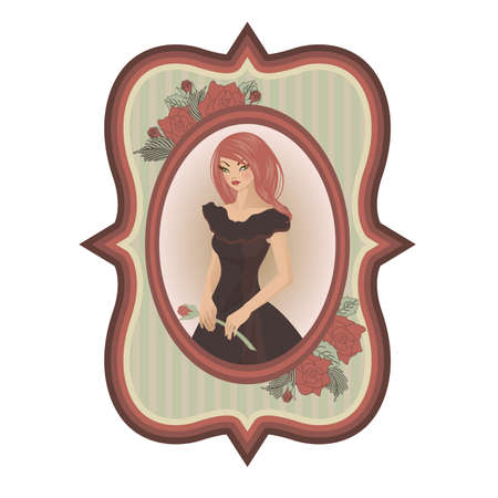 sexual girl: Vintage sexual girl with rose, illustration