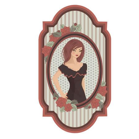 Vintage meisje, illustratie