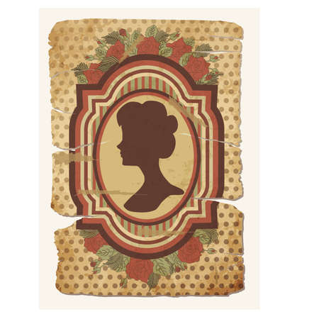 old vintage: Vintage card with female silhouette