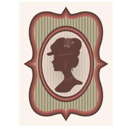 Uitstekende kaart met vrouw silhouet Stock Illustratie