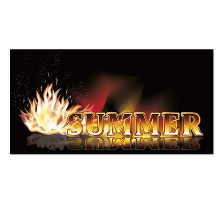 panoramic nature: Summer time fire banner illustration