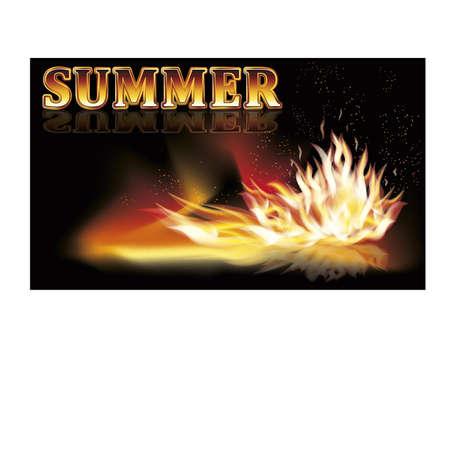 bright: Summer fire flames banner illustration Illustration