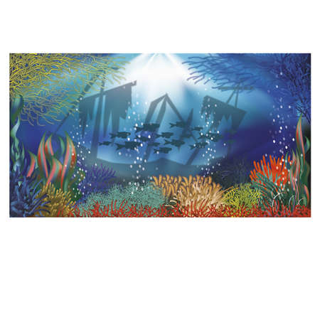 seascape: Underwater landscape banner, illustration