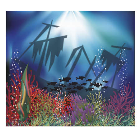 seascape: Underwater wallpaper banner, illustration Illustration