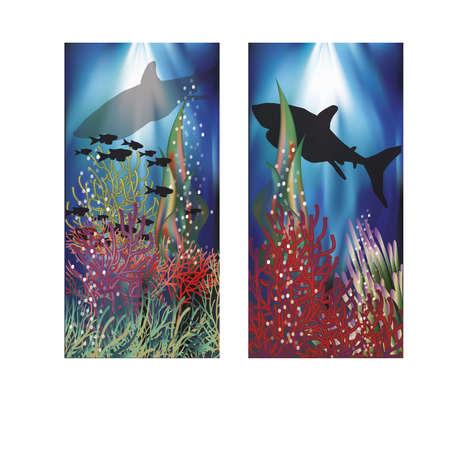 seafish: Underwater landscape banners set, illustration Illustration