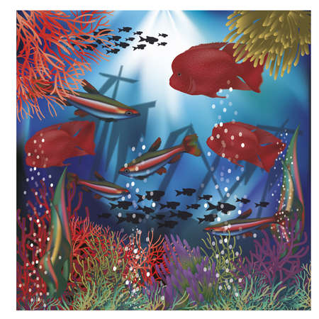 Underwater wallpaper with red tropical fish