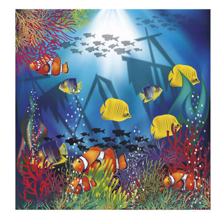 Underwater wallpaper with  tropical fish, illustration Illustration