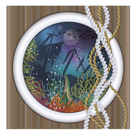 ship porthole: Underwater ship porthole background
