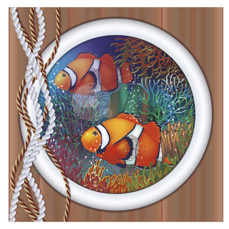 anemonefish: Underwater ship porthole Illustration