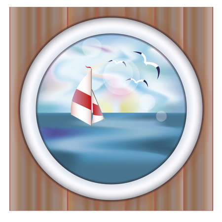sky dive: Underwater ship porthole wallpaper with yacht