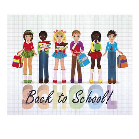 schoolwork: Back to School. Little school friends, vector illustration