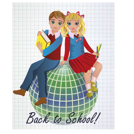 scholastic: Back to School. Little girl and boy with globe, vector illustration Illustration