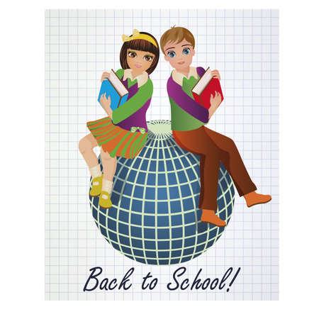 scholastic: Back to School. Little schoolgirl and schoolboy with globe, vector illustration