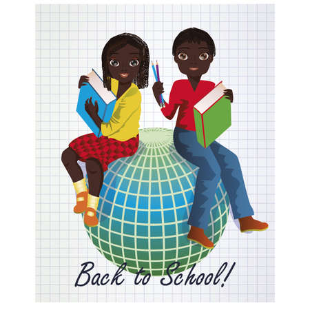 Back to School. Little african girl and boy with globe, vector illustration