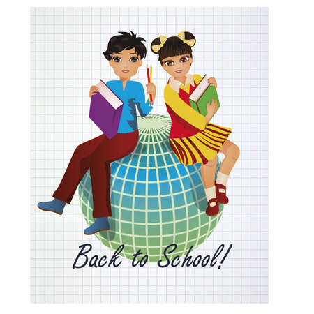 scholastic: Back to School. Little asian girl and boy with globe, vector illustration