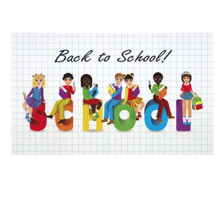 schooldays: Back to School. Little schoolgirls and schoolboys, vector illustration
