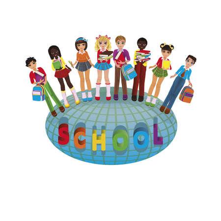 blonde teenager: Back to School. Little schoolkids and globe, vector illustration Illustration