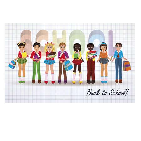 schoolkids: Back to School. Little schoolkids banner, vector illustration Illustration