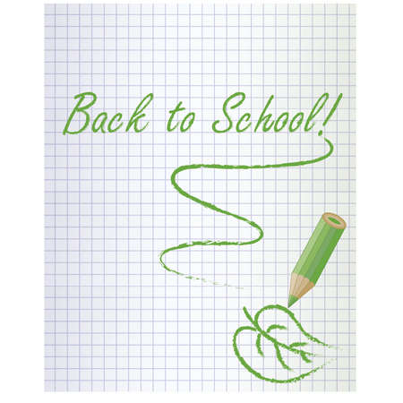 Back to school background with a green pencil and leaf, vector illustration