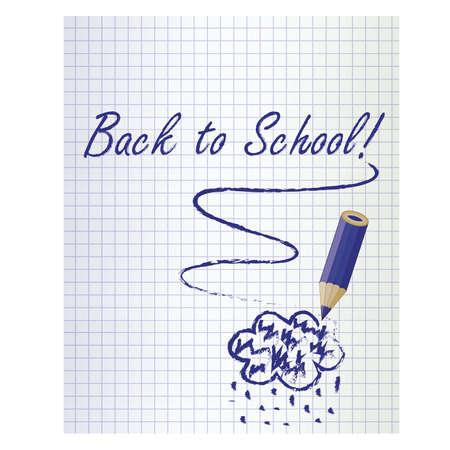 schoolwork: Back to school background with a dark blue pencil and rain cloud, vector illustration Illustration