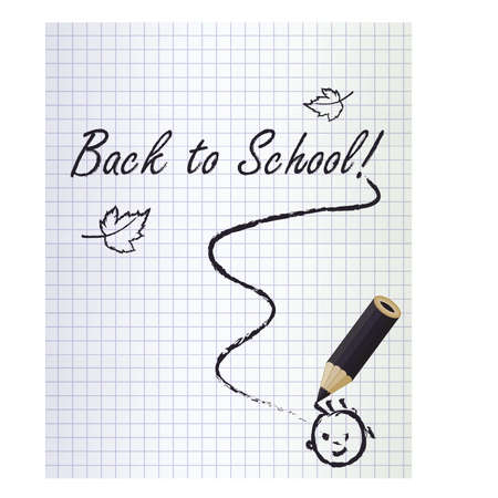 schoolwork: Back to school background with a black pencil and smile , vector illustration
