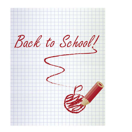 schoolwork: Back to school background with a red pencil and apple, vector illustration