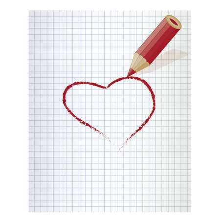Rood hart en rood potlood. vector illustratie