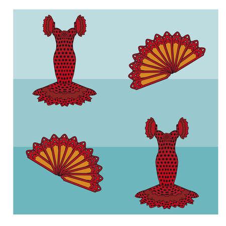 spanish fan: Seamless pattern flamenco style, vector illustration Illustration