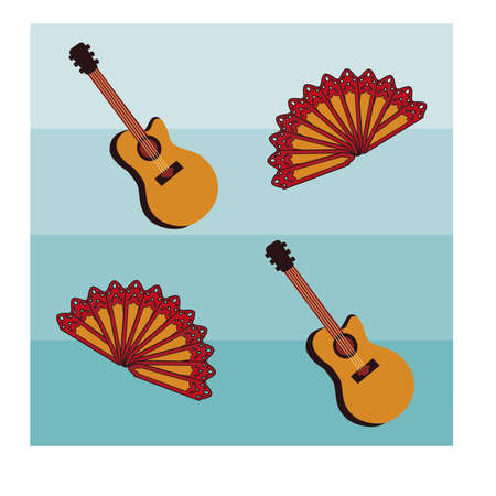 spanish guitar: Flamenco seamless pattern with spanish guitar, vector illustration Illustration