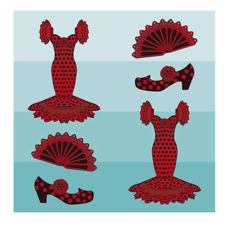 madrid spain: Flamenco style seamless pattern, vector illustration