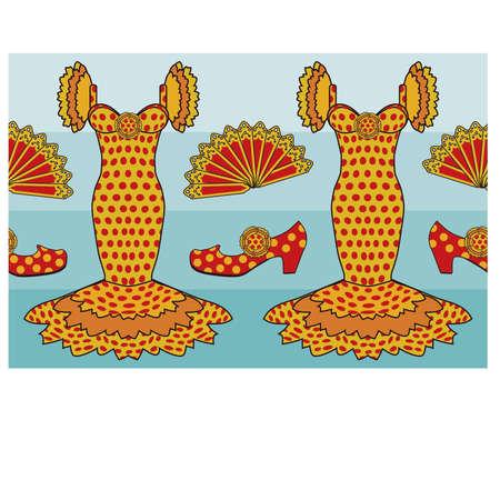spanish style: Seamless pattern in flamenco spanish style, vector illustration