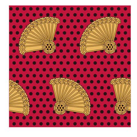 spanish fan: Flamenco seamless pattern, vector illustration