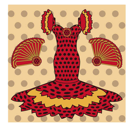 fiesta popular: Flamenco greeting card, vector illustration