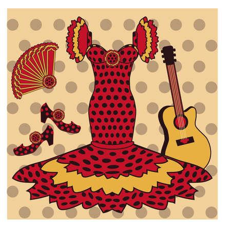 flor: Flamenco  pattern with spanish guitar, vector illustration Illustration