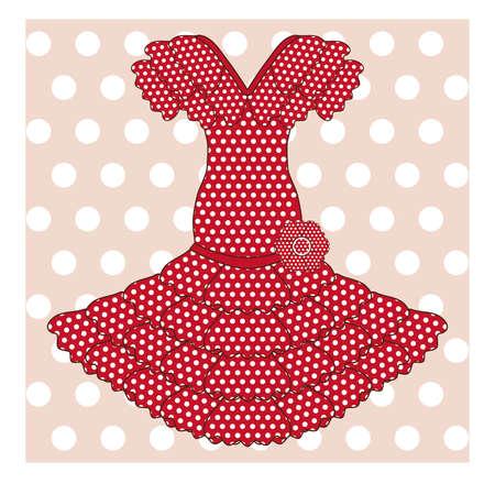 Flamenco jurk achtergrond, vector illustratie