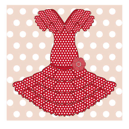 Flamenco dress background, vector illustration Illustration