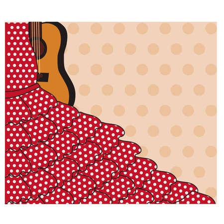 Flamenco invitation card, vector illustration