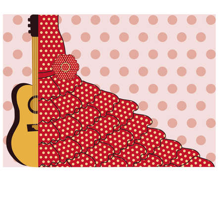 flor: Flamenco style banner, vector illustration