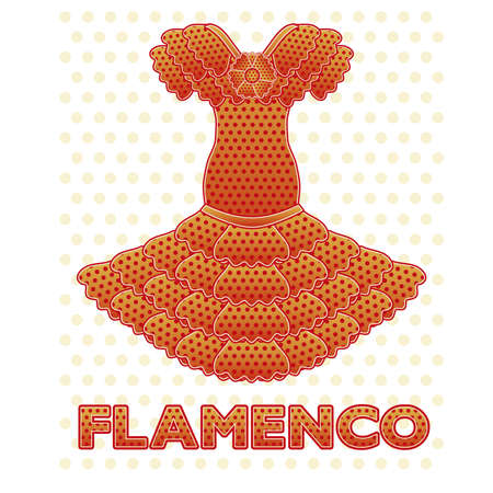Flamenco party dress card, vector illustration