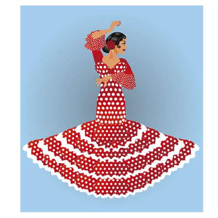 Beautiful spanish flamenco girl , vector illustration