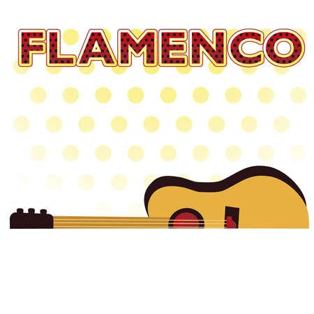 latina: Flamenco party invitation postcard, vector illustration