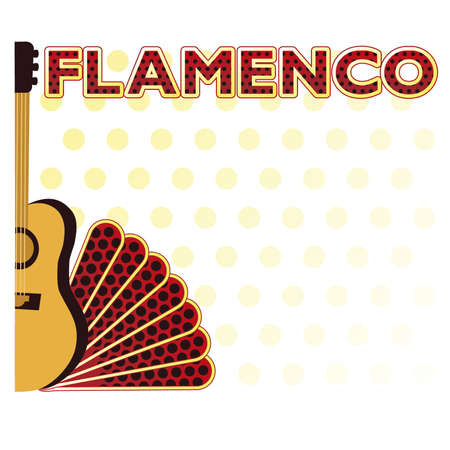 spanish fan: Flamenco party music card, vector illustration Illustration